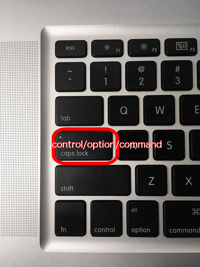 「caps lock」を『control/option/command』に変更