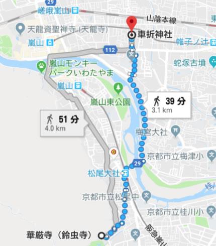 鈴虫寺から車折神社
