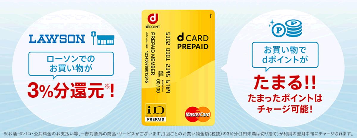 dカードプリペイドで使う。