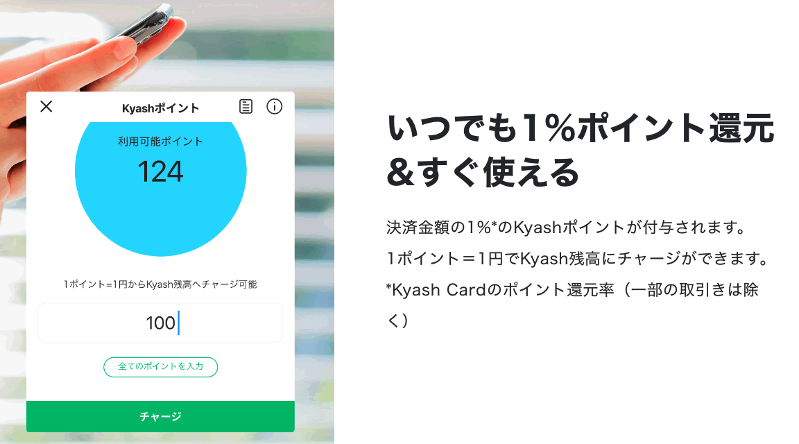 Kyashで+1%還元
