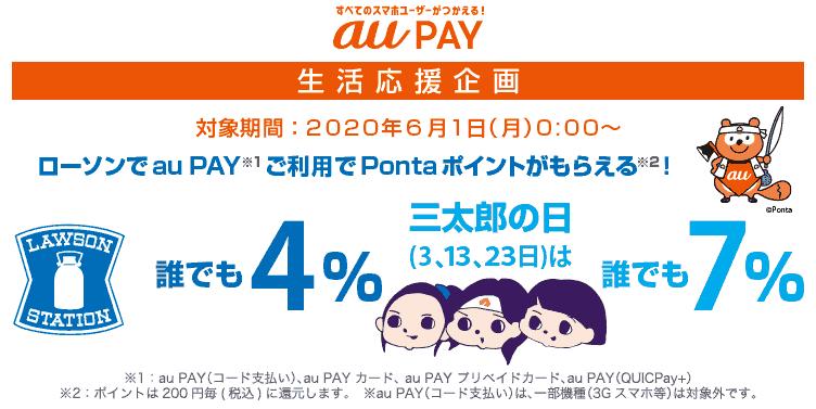 【6/1から】au Payの生活応援企画、ローソンで4%還元、三太郎の日7%(auユーザーは10%)