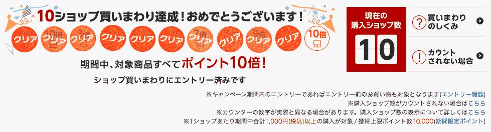 楽天スーパーセール10ショップ完走