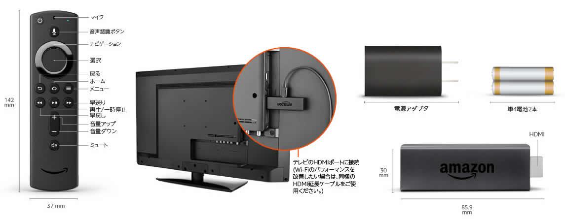 Fire TV Stickの大きさは、縦8.59cmx横3cmです。